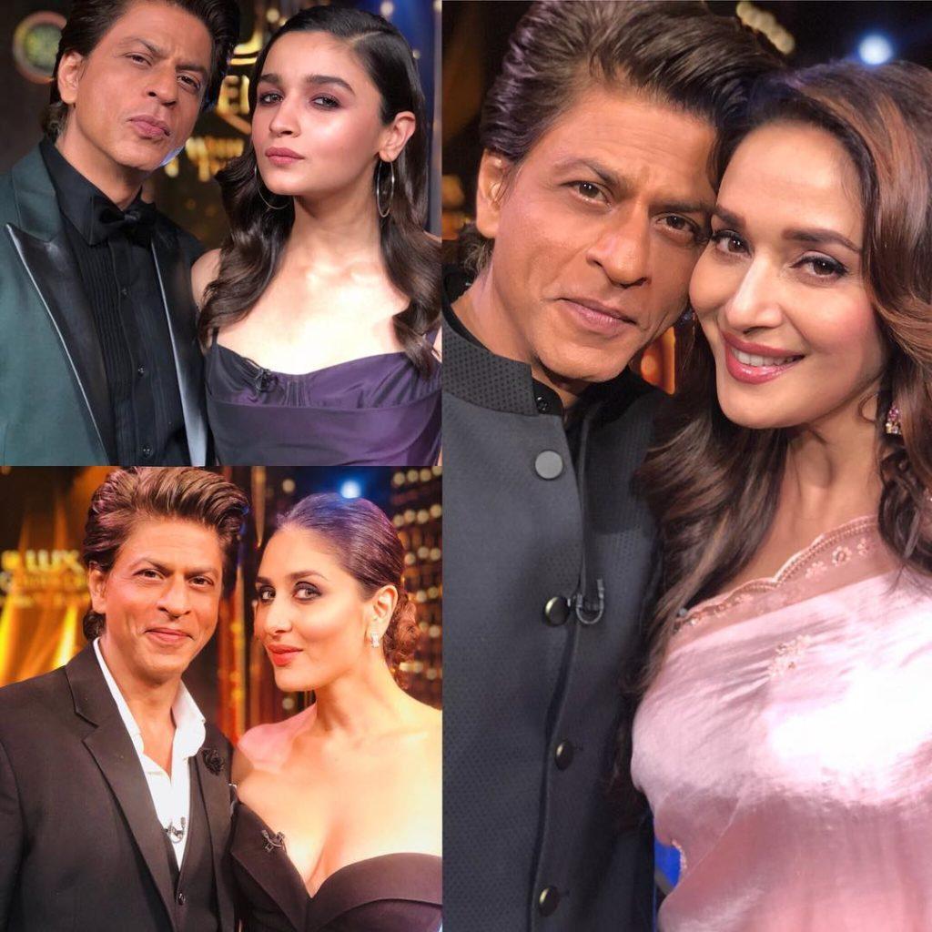 Bollywood-actor-Shah-Rukh-Khan-with-Alia-Bhat-Madhuri-Dixit-and-Kareena-kapoor-