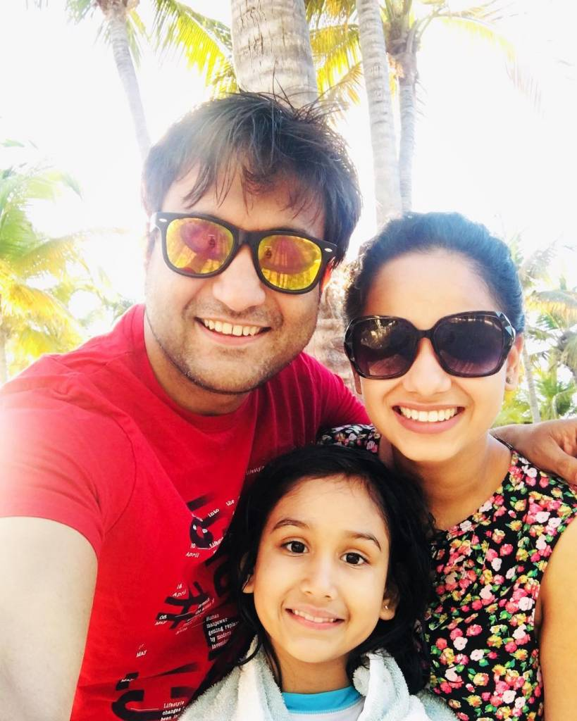 Lalit Shokeen with his wife Neha Shokeen and daughter Netanya Shokeen